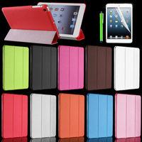 New Cheap Slim PU Leather Tri-Fold Case Cover for iPad mini 3 Stylus+Film