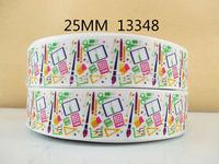 50Y13348 david ribbon free shipping 1'' printed ribbon Grosgrain ribbon for packing and bow garment accessoires