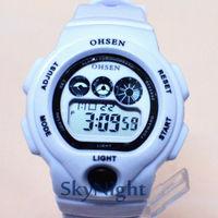 2014 New OHSEN Fasion Cool White  Strap Sport LCD Digital BackLight Sport Digital Men women Boy Sport Watch 1206-1