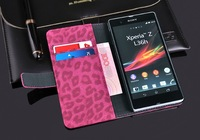 Luxury Leopard Book Style Wallet Leather Case Cover Pouch Stand For Sony Xperia Z L36h Flip Case
