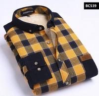 2014 New Autumn Winter Men Shirt Slim Velvet Thick Plaid Shirt Long Sleeve Fleece Casual Winter Shirts Big Size XXXL 4XL