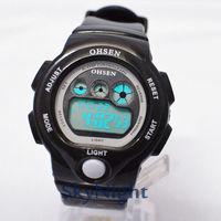 2014 New OHSEN Fasion Cool Black Strap Rubber Sport LCD Digital BackLight Dive Sport Digital Men Women Boy Sport Watch 1206-2