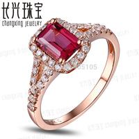 10k Rose Gold 5x7mm Emerald Cut 1.28ct Pink Tourmaline & Natural Diamond Engagement Ring Fine Jewelry