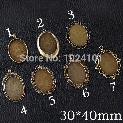 Fres Shipping pendant trays,30*40 MM Oval Cameo Cabochon Base Setting Pendants,Antique Bronze Plated,bezel blanks,mix 10pcs/lot(China (Mainland))