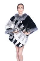 Beautiful New Style Gorgeous Hot selling Women Grace Genuine Real Silver Fox Fur And Rex Rabbi Fur Stripes Poncho Coat  QD80152