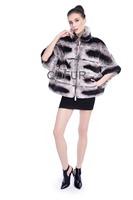 Beautiful New Style Gorgeous Hot selling Women Grace Genuine Real  Rex Rabbi Fur Pat Coat  Jacket Poncho With Free Size  QD80158