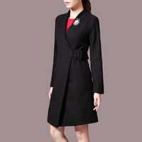 high quality chic women 50% wool slim long overcoats ,winter warm topcoat black and royal blue color B63