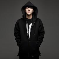 Neoprene unique oversized hoodie men side split extended long zip up hooded jacket Kanye west hip hop brand fake designer pyrex