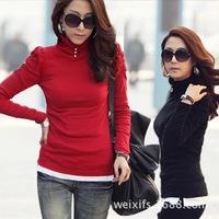 autumn/winter 2014  new fashion solid slim casual women top 3 color Turtleneck women pullover long sleeve women T-shirt M L XL