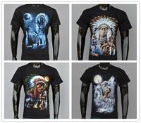 3D camisetas t-shirt men printing cotton Native Americans Indian chief short-sleeved t-shirt streetwear 3D TEE