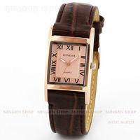 MINGEN SHOP - Luxury Rose Gold Square Case Roman Dial Leather Men Women Unisex Business Quartz Watch Q683