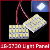 2pcs/lot 18LEDs 5730 SMD Dome Reading Light Panel Bulb Interior Light Lamp White Light Bulb T10 socket + Festoon Connetor