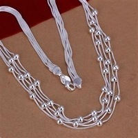 Free Shipping!!Wholesale 925 Silver Necklaces & Pendants,925 Silver Fashion Jewelry,Filve Line Beads Necklace SMTN213