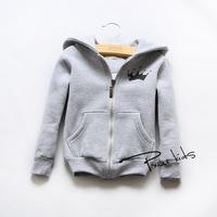hooded zip cardigan coat Korean  new autumn and winter children's clothing 14 Crown printing