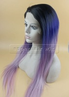 New Arrival Beauty Sexy Ombre Three Color ombre  Straight  Hair Wig Synthetic Lace Front  Black Root purple gray Women Party