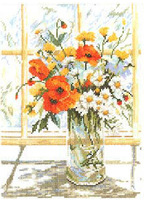 top quality counted cross stitch kits 14ct flowers vase window white canvas patterns sets for embroidery needlework home decor