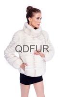 Winter New Style Grace Women's Genuine Rex Rabbit Fur Coat  with Stand Collar Jacket Female Short Outerwear QD80157