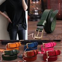 Brass Buckle 100% Genuine Leather Ladies Brand Belts For Women Strap Woman Belt Candy Colors Cintos Super Size Ceinture WBT0056