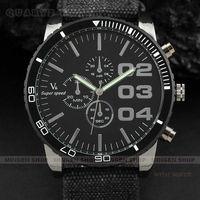 MINGEN SHOP - New Large Black Airman Meter Dial Fabric Band Men Boy Sport Quartz Watch Q2013