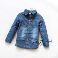 winter  imitation metal buckle wear  denim shirt boy  plus thick cotton shirt  children's clothing