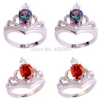 Wholesale Hot New Stylish Sexy Ladies Oval Cut Rainbow Topaz Garnet 925 Silver Ring Size 6 7 8 9 10 Free Shipping