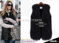 2014New designer Winter High Imitation Fox Fur Vests Gilet Outerwear women wool vests & waistcoats