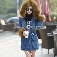 S-XLsize women jeans coat 2014 european style plus size medium long fur hoody winter jacket women thick warm parka free shipping