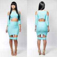 2014  new  women blue clothing bandage  dresses hot sale   free shipping KM037