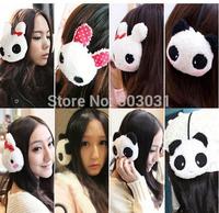 12pcs Baby Child Cute Plush Cute cartoon panda plush rabbit earmuffs winter warm earmuffs lady girls Warm winter