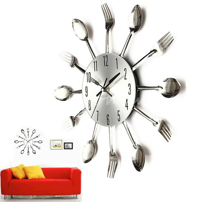 Hot Selling New Stylish Fashion Modern Cool Silver Kitchen Cutlery Utensil For Creative Design Wall Clock Spoon Fork Home Decor(China (Mainland))