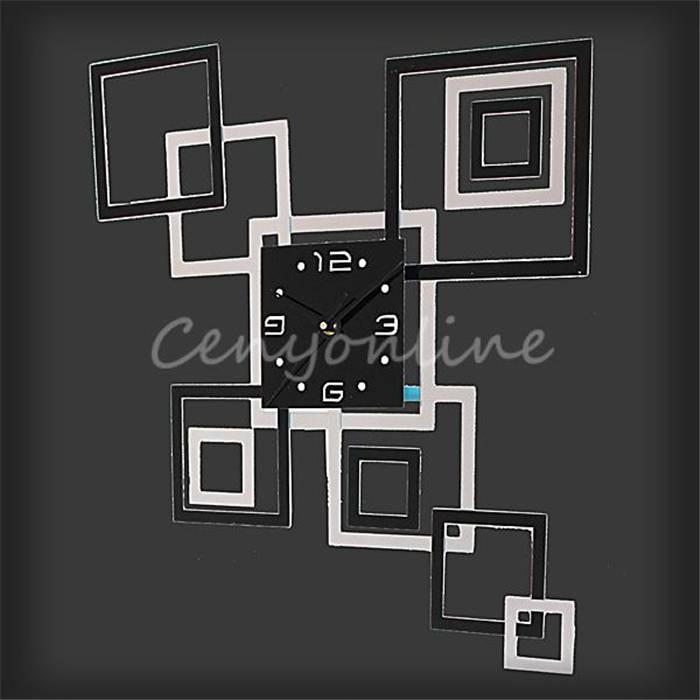 Newest Stylish Black+Silver Modern 3D Frame Sticker DIY Crystal Mirror Wall Clock Sticker Home Office Study Decoration(China (Mainland))