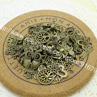 60-80pattern Mixed 100pcs Assorted Carved Charms Pendants Beads Metal Alloy Pandent Plated Antique Bronze Diy Bead CLQ004