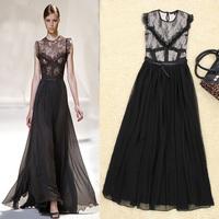 2014 new popular summer women new European& American stars same model lace dress stitching woman print dress chiffion pendulum