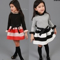 Free shipping 2014 new autumn winter children girl dress Stripe  long-sleeved dress black and white pink and red color