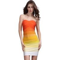 Free shipping 2014 European style sleeveless strapless bra's Mini bandage dance party dress