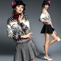 Europe Trend Vintage Castle Print Short White Down Jackets Coat 2014 Women Plus Size Slim Warm Parkas Outerwear Winter Clothing