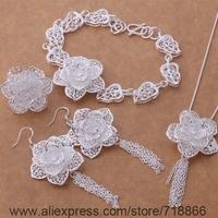 AS375 925 sterling silver Jewelry Sets Bracelet 284 + Necklace 699 + Earring 588 + Ring 372 /awlajnsa bidajzka