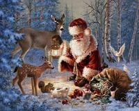 Free Shipping Diy diamond painting kits cross stitch square drill diamond rhinestone pasted painting puppet Father Christmas