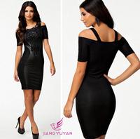 2014 new European style fashion sexy women dress embroidered strapless sexy slim hip pencil dress  PU stitching lace dress