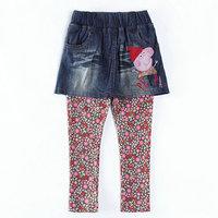 2014 New Design Peppa Skirt pant Cartoon Clothing Baby Girls Peppa Pig pantskirt Kids Embroidery pants Children trousers