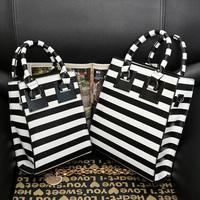 New Arrival Fashion black and white stripe big women handbag shoulder bags PU leather handbags cross-body bags