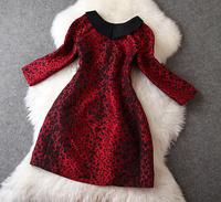 New arrival  2014 women's leopard print jacquard color block turn-down collar three quarter sleeve one-piece dress