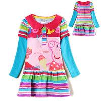 New 2014 Autumn Peppa pig dress for girls children dresses nova peppa pig casual clothing kids' party evening princess dresses