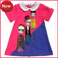 Retail Girls dress 2014 summer new girl fashion dress kids clothes free shipping girl glasses