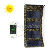 Universal Camouflage Camping 7W Solar Panel Electric Power Bank Battery Charger For iPhone For Samsung S3 For HTC MP4 +USB Cable(China (Mainland))