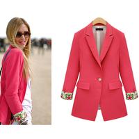 2014 Fashion Desigual Trendy Autumn Blazer Feminino  Single Button Short Slim Women Blazer Free Shipping XZX19091