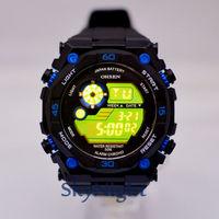 2014 New OHSEN Fasion Cool Men Blue Black Rubber Sport LCD LED Digital BackLight Dive Sport Digital Men Boy Sport Watch 2810-2