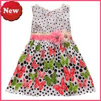 Retail 2014 new fashion girl's dress butterfly Christmas dress polka dot dress free shipping