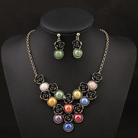 Vintage simulated pearl jewelry sets for women wedding necklace & earrings set wholesale