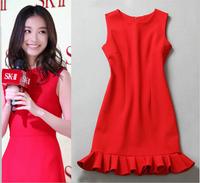 HIGH QUALITY Celebrities Elegant Party Mermaid Dress 2014 Fall Women Fashion Sleeveless Ruffles Brief Cute Dress Tank Dress Red